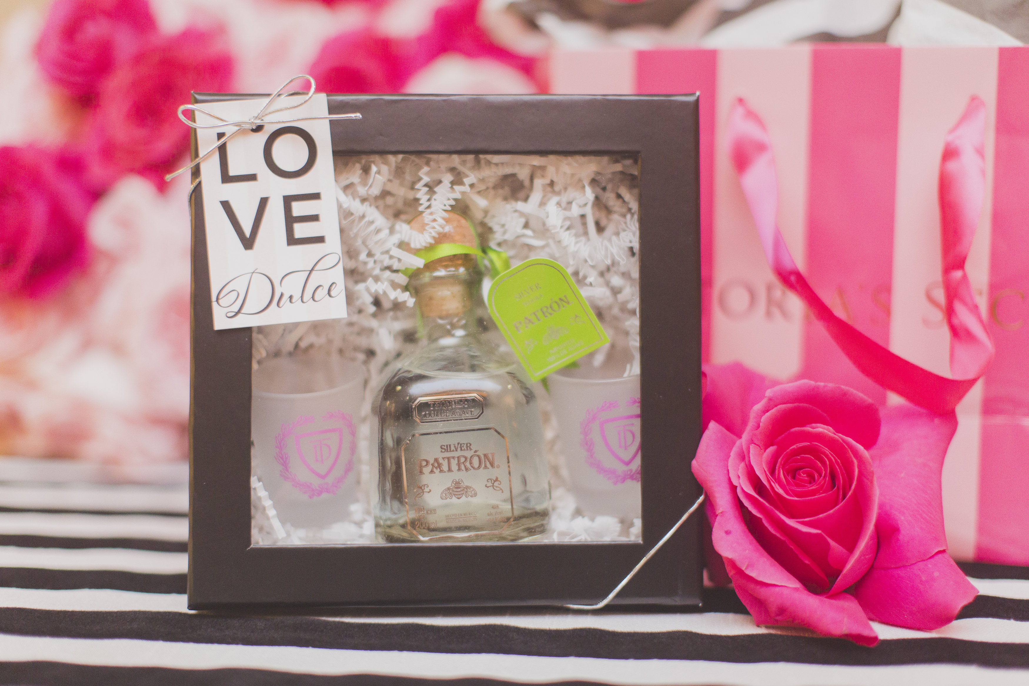 PINK party xoxo Tequila shot glass favor | Occasio Productions